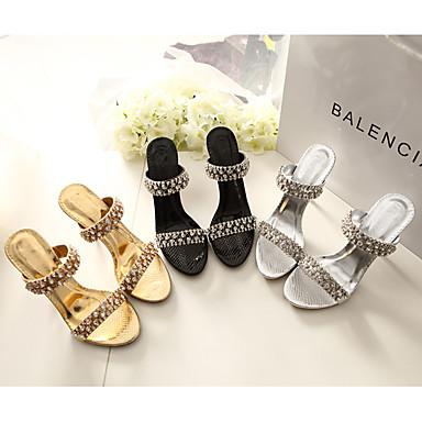 Noir Cristal Strass Or Sandales Aiguille Eté Argent 06405796 Talon Polyuréthane Mariage Femme Chaussures Synthétique Confort Printemps P7R1Rnq