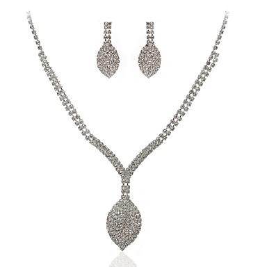 Damskie Kolczyki wiszące Naszyjnik Rhinestone Imitacja diamentu Stop Geometric Shape Klasyczny Ślub Impreza 1 Naszyjnik Náušnice
