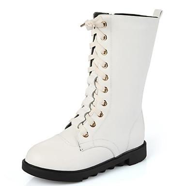 Mädchen Schuhe Leder Herbst Winter Schneestiefel Komfort Stiefel Für Normal Weiß Schwarz
