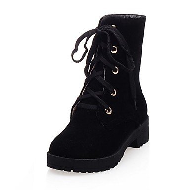 6d03e30e823e ... 06397059 Similicuir Femme Combat Bottes boîtes Bout Hiver Vert Noir de  Talon Bas Véronèse mollet Chaussures ...