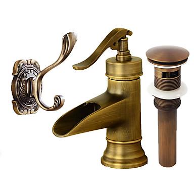 Umieszczona centralnie Wodospad Zawór ceramiczny Pojedynczy uchwyt jeden otwór Antique Copper, Zestaw baterii