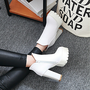 Hiver Mode Gris à Bout rond Bottes Talon la Similicuir Noir Botte Chaussures Blanc Bottes Bottine Femme Bottier Demi 06397058 qTSEYx