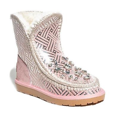 Damen Schuhe Pelz Winter Herbst Komfort Schneestiefel Stiefel für Normal Gold Rosa