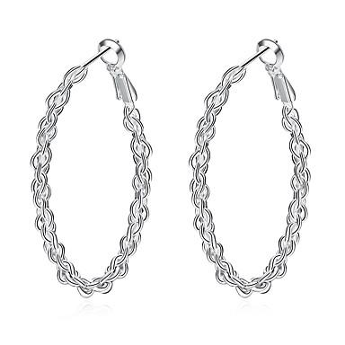Damskie Kolczyki wiszące Kolczyki koła Vintage Hipoalergiczny Modny Słodkie Miedź Posrebrzany Circle Shape Biżuteria Silver Codzienny