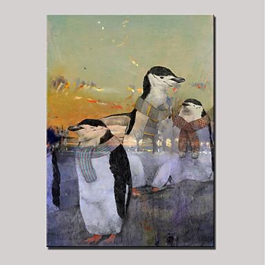Hang-Malowane obraz olejny Ręcznie malowane - Zwierzęta Nowoczesny Zwinięte płótna / Zwijane płótno