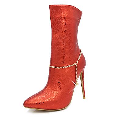 Damen Schuhe Kunstleder Winter Herbst Modische Stiefel Flaum Futter Stiefel Spitze Zehe Mittelhohe Stiefel Imitationsperle Reißverschluss