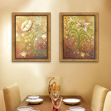 Oprawione płótno Zestaw w oprawie Kwiatowy/Roślinny Postarzane Wall Art, PVC (polichlorek winylu) Materiał z ramą Dekoracja domowa rama