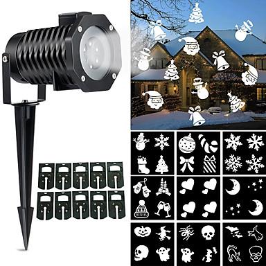 1szt z 10 slajdami Płatek śniegu Wysoka jakość Obrotowy Dekoracja Światło projektora Światła do trawy