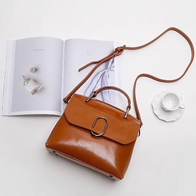 Damen Taschen Kuhfell Umhängetasche Knöpfe Reißverschluss für Normal Alle Jahreszeiten Schwarz Rosa Grau Braun Armeegrün