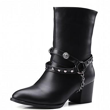 Damen Schuhe PU Kunstleder Winter Modische Stiefel Neuheit Komfort Stiefel Spitze Zehe Booties / Stiefeletten Kette für Party &