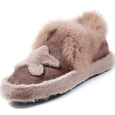 Damskie Obuwie Guma Zima Comfort Mokasyny i pantofle Okrągły Toe na Na wolnym powietrzu Black Brown