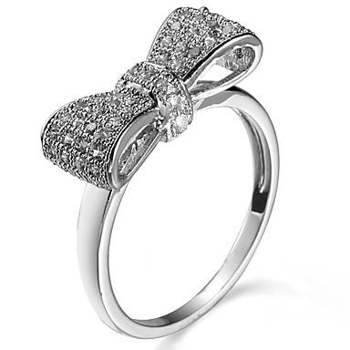Χαμηλού Κόστους Μοδάτο Δαχτυλίδι-Γυναικεία Cubic Zirconia Band Ring Δαχτυλίδι για τη μέση των δαχτύλων Ζιρκονίτης Χαλκός Φιογκάκι κυρίες Κλασσικό Γλυκός Μοντέρνα Κομψό Μοδάτο Δαχτυλίδι Κοσμήματα Ασημί Για