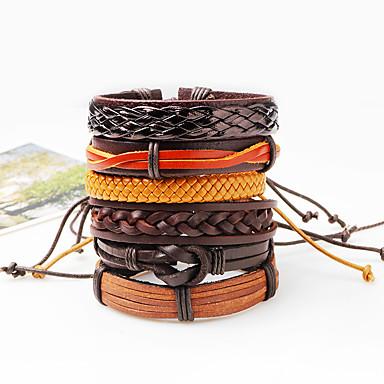 voordelige Herensieraden-Heren Armband geweven Statement Rock Hip-hop Oversized Rips Armband sieraden Bruin Voor Dagelijks Causaal