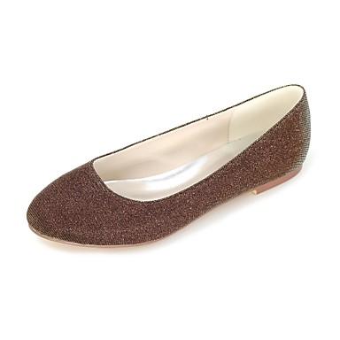 billige Toppsalg-Dame Flate sko Flat hæl Rund Tå Glimtende Glitter Ballerina Vår / Sommer Sølv / Rød / Blå / Fest / aften / Formell