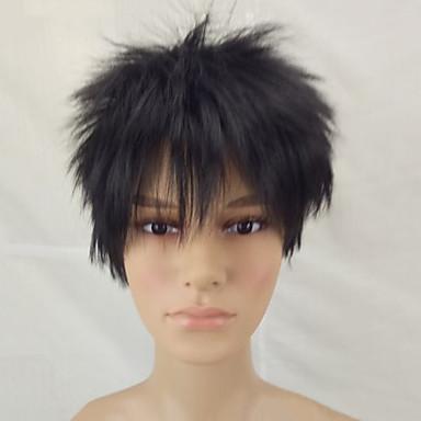 Synthetische Perücken Glatt Stufenhaarschnitt Synthetische Haare Schwarz Perücke Herrn Kurz Kappenlos Natürlich Schwarz