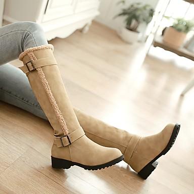 Hiver Bottes neige Chaussures Bout Bottes 06384496 Bottes Kaki de Noir la Similicuir Bottes Jaune à Boucle rond Femme Mode nHEStn