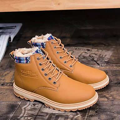 Erkek Ayakkabı Sentetik Bahar Sonbahar Rahat Yürüyüş için Bağcıklı Kahverengi Siyah Mavi