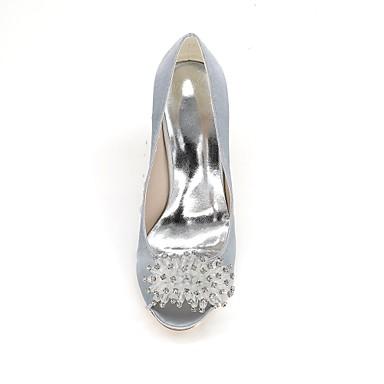 mariage Femme Basique Aiguille Ivoire Satin Champagne 06413887 Talon Chaussures Strass Chaussures Printemps de Escarpin ouvert Bout Eté Bleu FwqxFpRr8