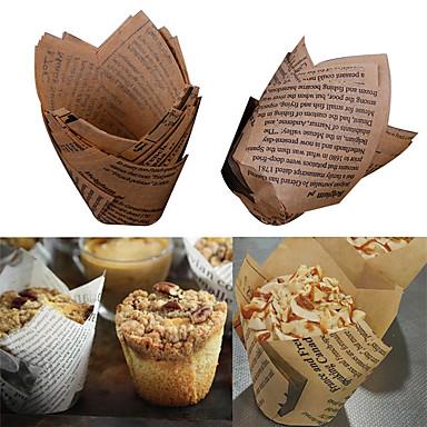 Narzędzia do pieczenia Drewniany Kreatywny gadżet kuchenny Chleb / Ciasteczka / Cupcake Pieczenie Maty & Liners 50szt