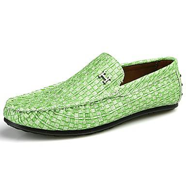 Męskie Buty PU Wiosna Lato Comfort Mokasyny i pantofle na Casual Black Light Grey Light Green