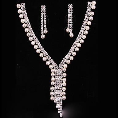 Damskie Zestawy biżuterii Bridal Jewelry Sets Posrebrzany Klasyczny Modny Ślub Impreza 1 Naszyjnik Náušnice Biżuteria kostiumowa