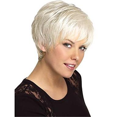 Ludzkie Włosy Capless Peruki Włosy naturalne Prosto Część Boczna Krótki Tkany maszynowo Peruka Damskie
