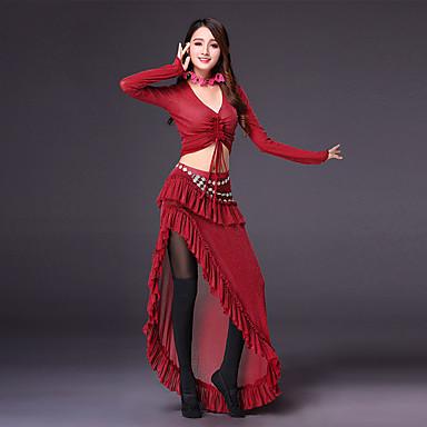 Taniec brzucha Outfits Damskie Szkolenie Poliester Rozporek Gore Marszczenia Długi rękaw Wypada Spódnice Top