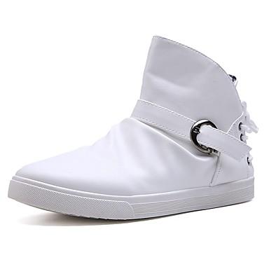 Męskie Komfortowe buty PU Wiosna / Jesień Botki Biały / Czarny / Fashion Boots