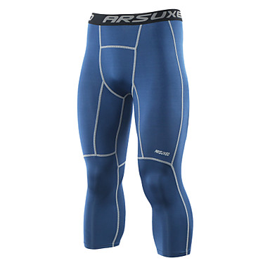 Arsuxeo Men's Running 3/4 Capri Pants Running Tights Moisture Wicking Three Dimensional Tailor Quick Dry Soft 3/4 Tights Bottoms Yoga