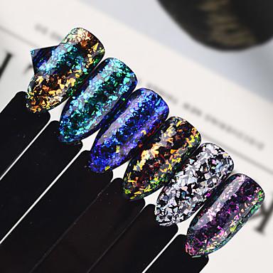 1pcs Biżuteria do paznokci Płatki 3D Glitter Proszek Cekiny Art Deco / Retro Klasyczny Efekt Broken Glass Lśniące Folia Kameleon Laserowy