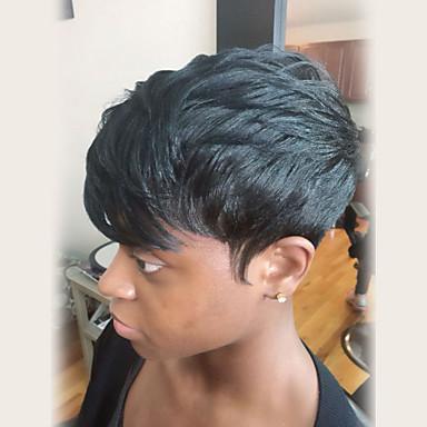 Peruki bez czepka z naturalnych włosów Włosy naturalne Naturalne fale Część boczna Krótkie Tkany maszynowo Peruka Damskie