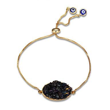 abordables Bracelet-Chaînes Bracelets Femme Obsidienne Gemme Plaqué or Classique Européen Mode énorme Bracelet Bijoux Noir Forme de Cercle Forme Géométrique pour Soirée Quotidien