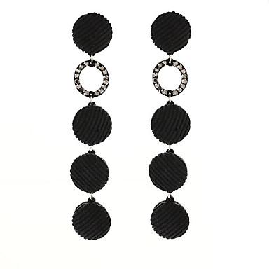 Damskie 2szt Kolczyki na sztyft Rhinestone Prosty Pozłacane Flanela Polar Circle Shape Biżuteria Black Brown Różowy Ciemnogranatowy