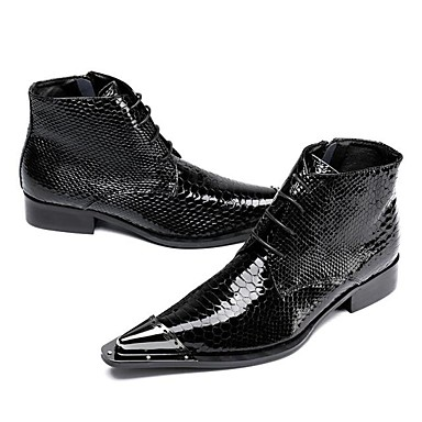 89f1aa43fee7 Men's Shoes Leather Fall / Winter Novelty / Cowboy / Western Boots /  Fashion Boots Boots Booties / Ankle Boots Black / Wedding 6416010 2019 –  $84.99
