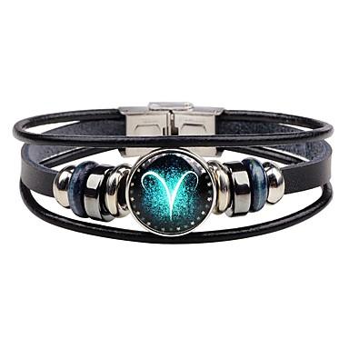 voordelige Herensieraden-Heren Lederen armbanden Armband Dierenriem Rock Hip-hop Roestvast staal Armband sieraden Voor Afspraakje Bar