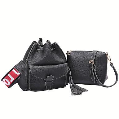 Damen Taschen PU Bag Set 2 Stück Geldbörse Set Taschen für Alle Jahreszeiten Schwarz Rote Dunkelgrün Braun