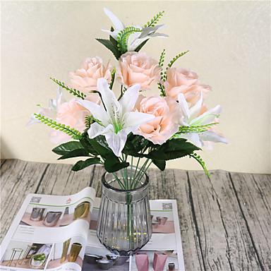 1 Gałąź Poliester Lilie Roses Bukiety na stół Sztuczne Kwiaty