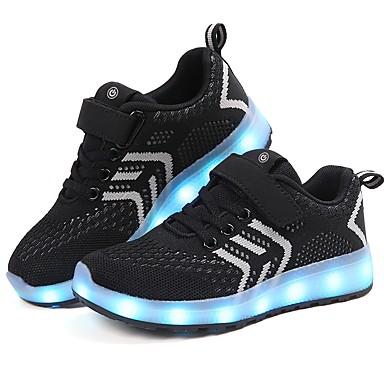 Dla chłopców Obuwie Oddychająca Mesh / Materiał Wiosna lato Wygoda / Świecące buty Tenisówki Tasiemka / LED na Różowy / Czarny czerwony / Zielony / Niebieski