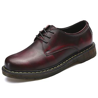 Męskie Buty Skórzany Nappa Leather Wiosna Jesień Comfort Oksfordki na Casual Black Brown Czerwony