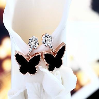 Damskie Kolczyki na sztyft Kolczyki koła Rhinestone Klasyczny Hipoalergiczny Modny Słodkie Koreański Stop Bowknot Shape Biżuteria Black