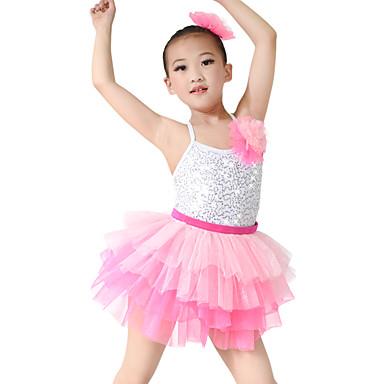 Tanzkleidung für Kinder Kleider Kinder Aufführung Elasthan Tüll Pailletten Pailetten Ärmellos Normal Kleider Kopfbedeckungen