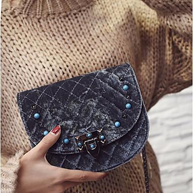Damen Taschen Samt Schultertasche Randverzierung für Normal Alle Jahreszeiten Schwarz Grau Dunkelgrün Wein