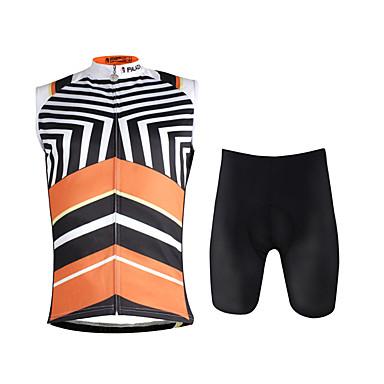 ILPALADINO Męskie Bez rękawów Koszulka z szortami na rower - Black/Orange kamuflaż Rower Kamizelka Spodenki snowboardowe Zestawy odzieży,
