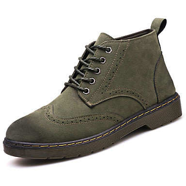 Męskie Buty PU Wiosna Jesień Comfort Buciki na Na wolnym powietrzu Brown Army Green Khaki