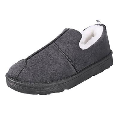 Damskie Obuwie PU Zima Comfort Mokasyny i pantofle Okrągły Toe na Casual Black Gray Army Green
