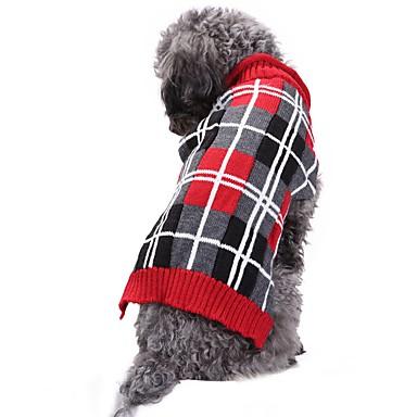Kot / Pies Kostiumy / Płaszcze / Swetry Ubrania dla psów Plaid / Sprawdź / Geometryczny / W stylu brytyjskim Szary Spandex / Pościel i Cotton Mieszanka / Chinlon Kostium Dla zwierząt domowych