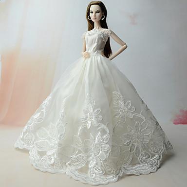 Suknie Sukienka Dla Lalka Barbie White Satyna / tiul Len / bawełna Koronka Ubierać Dla Dziewczyny Lalka Zabawka