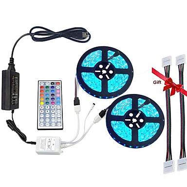 led-streifen-licht-kit 5050 wasserdicht (2x5 m) 600 leds rgb 60 leds / m mit 44key controller und 12v6a stromversorgung (geschenk 2 stücke