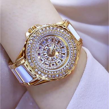 cheap Women's Watches-Women's Wrist Watch Diamond Watch Gold Watch Japanese Quartz Stainless Steel Ceramic White / Silver / Gold 30 m Casual Watch Analog Ladies Charm - Gold Silver Rose Gold