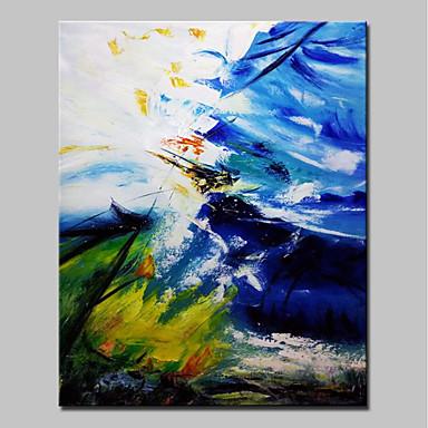 Hang-Malowane obraz olejny Ręcznie malowane - Abstrakcja Prosty / Nowoczesny Płótno / Rozciągnięte płótno